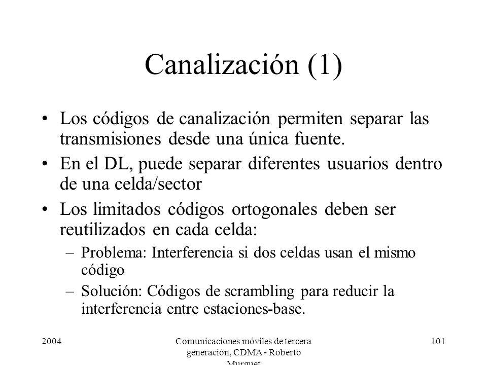 2004Comunicaciones móviles de tercera generación, CDMA - Roberto Murguet 101 Canalización (1) Los códigos de canalización permiten separar las transmi