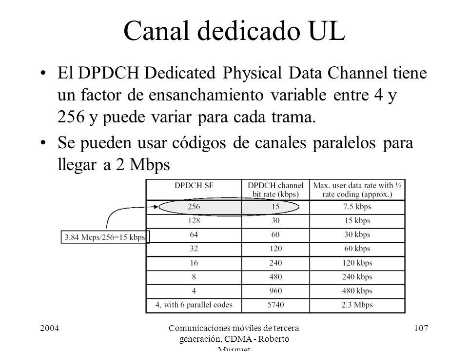 2004Comunicaciones móviles de tercera generación, CDMA - Roberto Murguet 107 Canal dedicado UL El DPDCH Dedicated Physical Data Channel tiene un factor de ensanchamiento variable entre 4 y 256 y puede variar para cada trama.