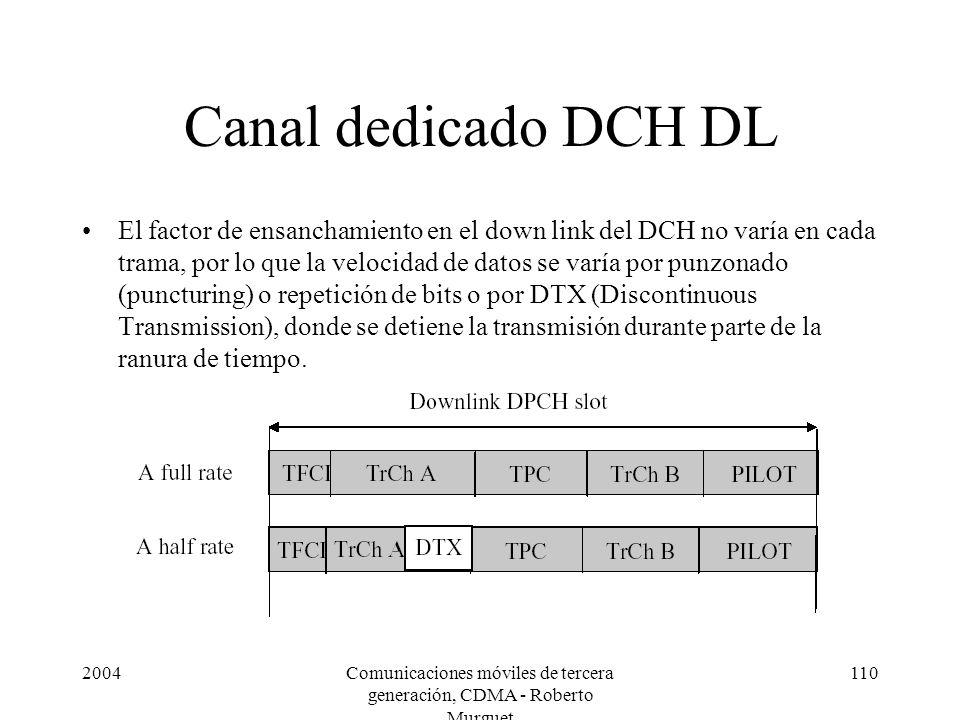 2004Comunicaciones móviles de tercera generación, CDMA - Roberto Murguet 110 Canal dedicado DCH DL El factor de ensanchamiento en el down link del DCH no varía en cada trama, por lo que la velocidad de datos se varía por punzonado (puncturing) o repetición de bits o por DTX (Discontinuous Transmission), donde se detiene la transmisión durante parte de la ranura de tiempo.