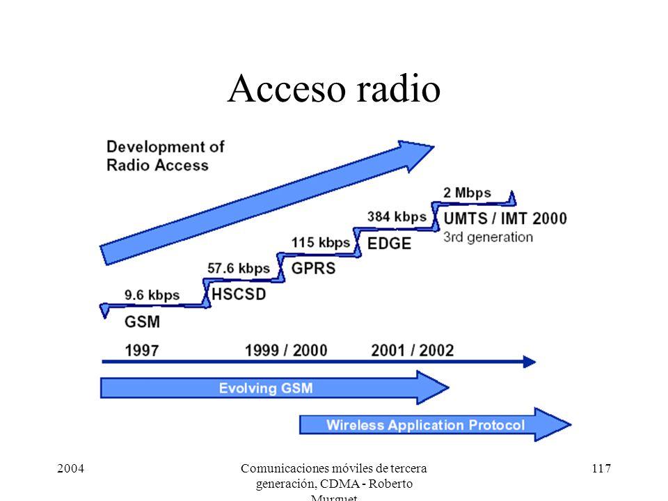 2004Comunicaciones móviles de tercera generación, CDMA - Roberto Murguet 117 Acceso radio