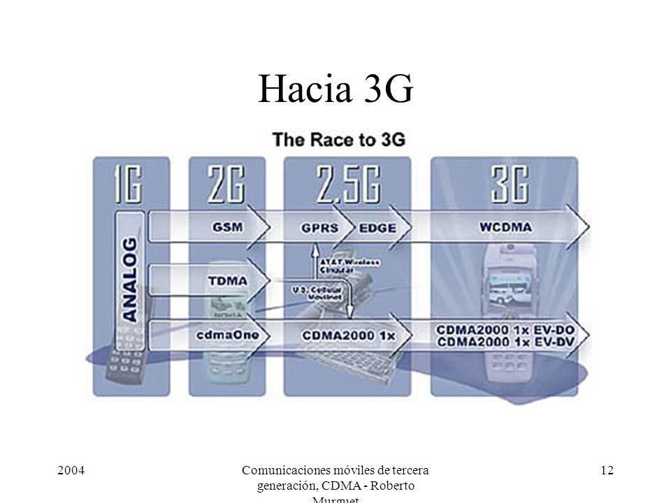 2004Comunicaciones móviles de tercera generación, CDMA - Roberto Murguet 12 Hacia 3G
