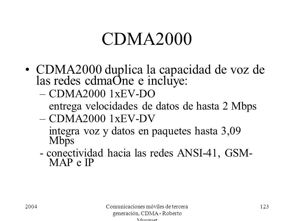 2004Comunicaciones móviles de tercera generación, CDMA - Roberto Murguet 123 CDMA2000 CDMA2000 duplica la capacidad de voz de las redes cdmaOne e incluye: –CDMA2000 1xEV-DO entrega velocidades de datos de hasta 2 Mbps –CDMA2000 1xEV-DV integra voz y datos en paquetes hasta 3,09 Mbps - conectividad hacia las redes ANSI-41, GSM- MAP e IP