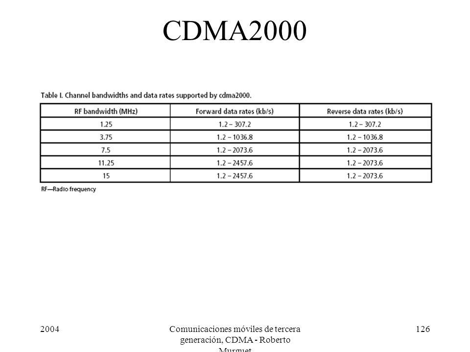 2004Comunicaciones móviles de tercera generación, CDMA - Roberto Murguet 126 CDMA2000