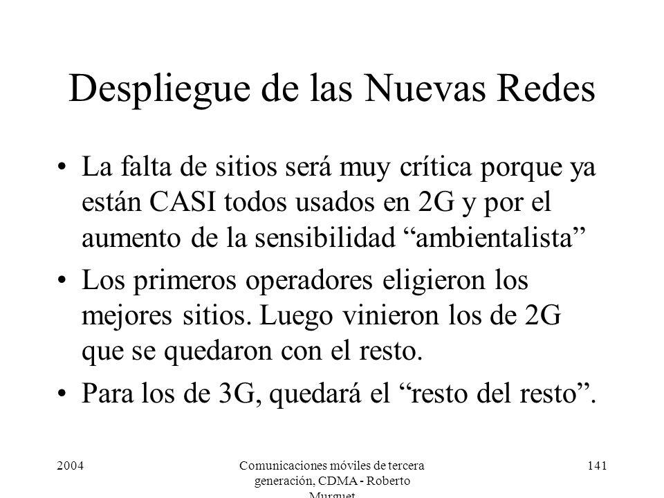 2004Comunicaciones móviles de tercera generación, CDMA - Roberto Murguet 141 Despliegue de las Nuevas Redes La falta de sitios será muy crítica porque
