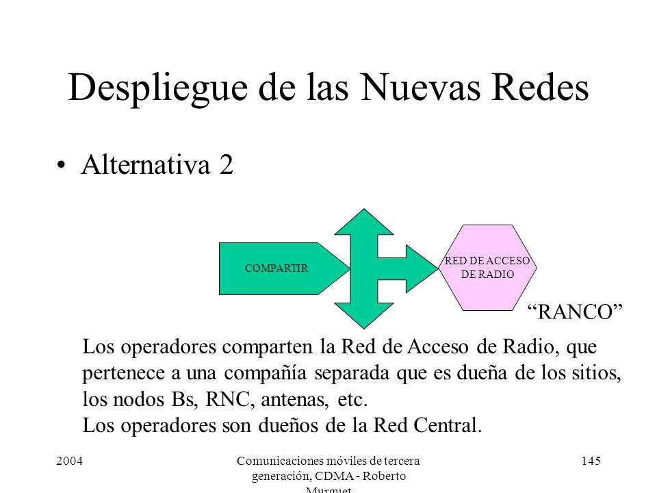 2004Comunicaciones móviles de tercera generación, CDMA - Roberto Murguet 145 Despliegue de las Nuevas Redes Alternativa 2 RED DE ACCESO DE RADIO COMPARTIR Los operadores comparten la Red de Acceso de Radio, que pertenece a una compañía separada que es dueña de los sitios, los nodos Bs, RNC, antenas, etc.