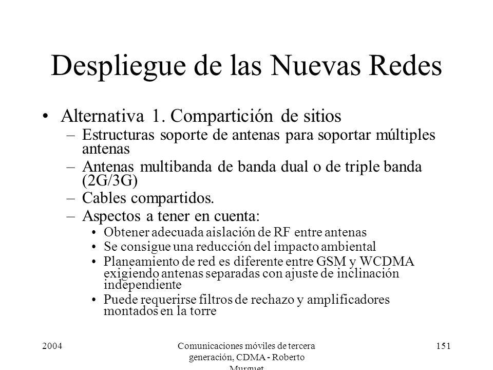 2004Comunicaciones móviles de tercera generación, CDMA - Roberto Murguet 151 Despliegue de las Nuevas Redes Alternativa 1. Compartición de sitios –Est