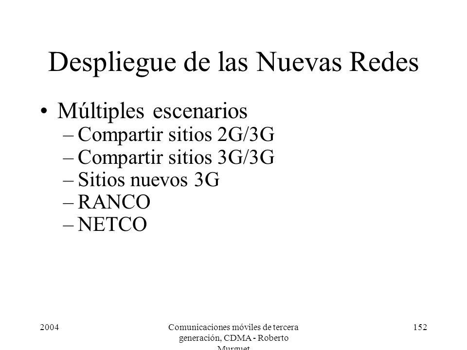 2004Comunicaciones móviles de tercera generación, CDMA - Roberto Murguet 152 Despliegue de las Nuevas Redes Múltiples escenarios –Compartir sitios 2G/3G –Compartir sitios 3G/3G –Sitios nuevos 3G –RANCO –NETCO