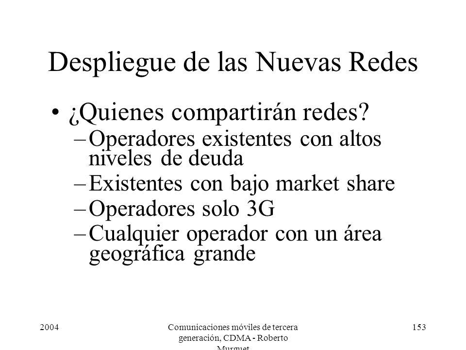 2004Comunicaciones móviles de tercera generación, CDMA - Roberto Murguet 153 Despliegue de las Nuevas Redes ¿Quienes compartirán redes.