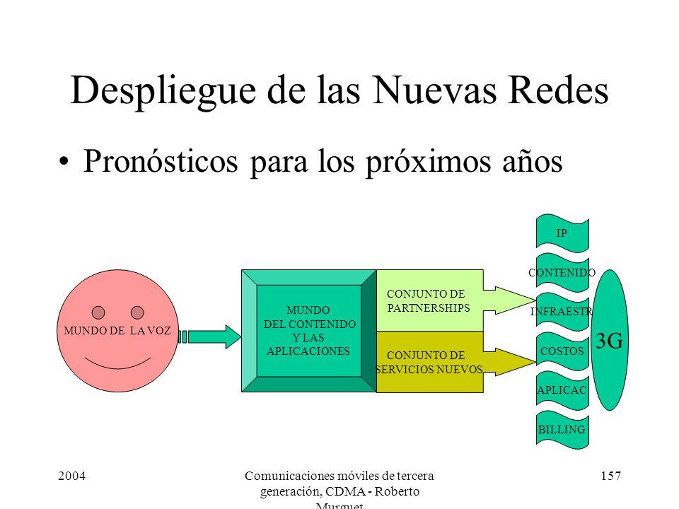 2004Comunicaciones móviles de tercera generación, CDMA - Roberto Murguet 157 Despliegue de las Nuevas Redes Pronósticos para los próximos años MUNDO DE LA VOZ MUNDO DEL CONTENIDO Y LAS APLICACIONES CONJUNTO DE SERVICIOS NUEVOS CONJUNTO DE PARTNERSHIPS 3G CONTENIDO INFRAESTR COSTOS IP BILLING APLICAC