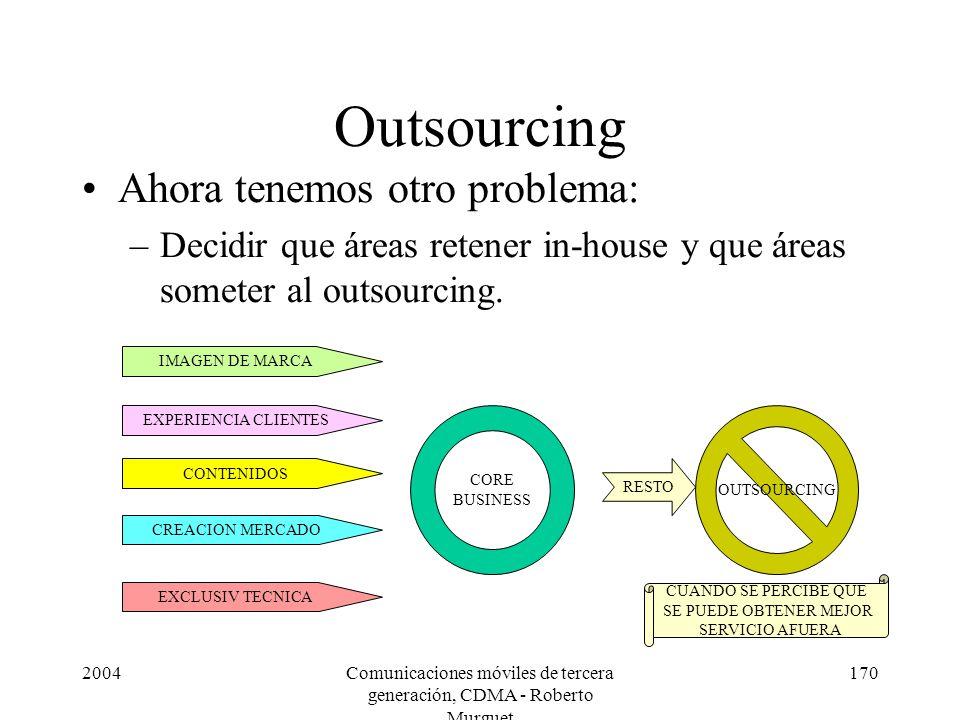 2004Comunicaciones móviles de tercera generación, CDMA - Roberto Murguet 170 Outsourcing Ahora tenemos otro problema: –Decidir que áreas retener in-house y que áreas someter al outsourcing.