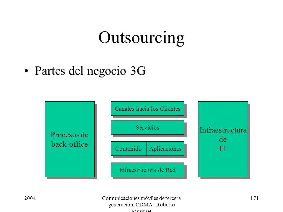 2004Comunicaciones móviles de tercera generación, CDMA - Roberto Murguet 171 Outsourcing Partes del negocio 3G Procesos de back-office Procesos de back-office Infraestructura de IT Infraestructura de IT Canales hacia los Clientes Servicios Contenido Infraestructura de Red Aplicaciones