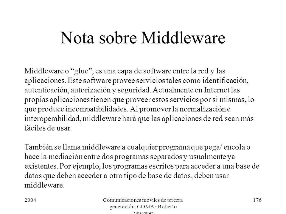 2004Comunicaciones móviles de tercera generación, CDMA - Roberto Murguet 176 Nota sobre Middleware Middleware o glue, es una capa de software entre la red y las aplicaciones.