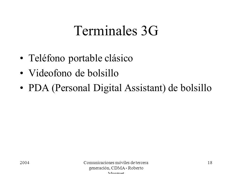 2004Comunicaciones móviles de tercera generación, CDMA - Roberto Murguet 18 Terminales 3G Teléfono portable clásico Videofono de bolsillo PDA (Personal Digital Assistant) de bolsillo