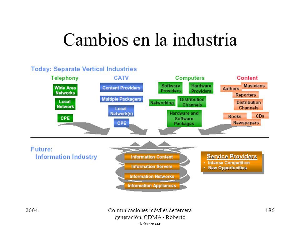 2004Comunicaciones móviles de tercera generación, CDMA - Roberto Murguet 186 Cambios en la industria