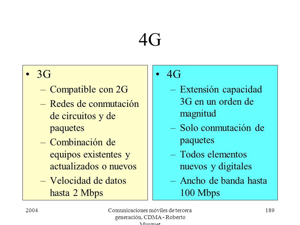 2004Comunicaciones móviles de tercera generación, CDMA - Roberto Murguet 189 4G 3G –Compatible con 2G –Redes de conmutación de circuitos y de paquetes –Combinación de equipos existentes y actualizados o nuevos –Velocidad de datos hasta 2 Mbps 4G –Extensión capacidad 3G en un orden de magnitud –Solo conmutación de paquetes –Todos elementos nuevos y digitales –Ancho de banda hasta 100 Mbps