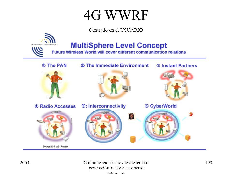 2004Comunicaciones móviles de tercera generación, CDMA - Roberto Murguet 193 4G WWRF Centrado en el USUARIO