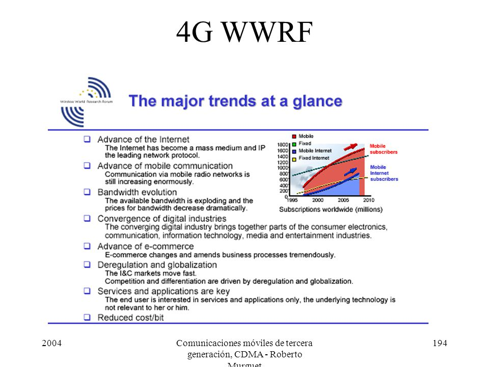 2004Comunicaciones móviles de tercera generación, CDMA - Roberto Murguet 194 4G WWRF