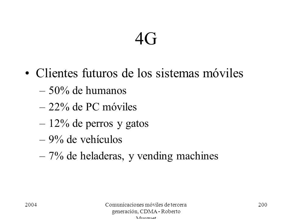 2004Comunicaciones móviles de tercera generación, CDMA - Roberto Murguet 200 4G Clientes futuros de los sistemas móviles –50% de humanos –22% de PC móviles –12% de perros y gatos –9% de vehículos –7% de heladeras, y vending machines