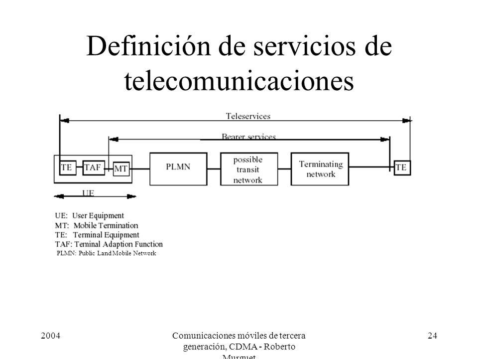 2004Comunicaciones móviles de tercera generación, CDMA - Roberto Murguet 24 Definición de servicios de telecomunicaciones PLMN: Public Land Mobile Net