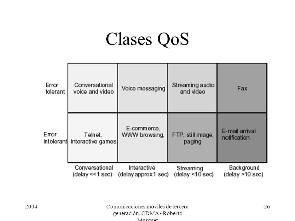 2004Comunicaciones móviles de tercera generación, CDMA - Roberto Murguet 26 Clases QoS
