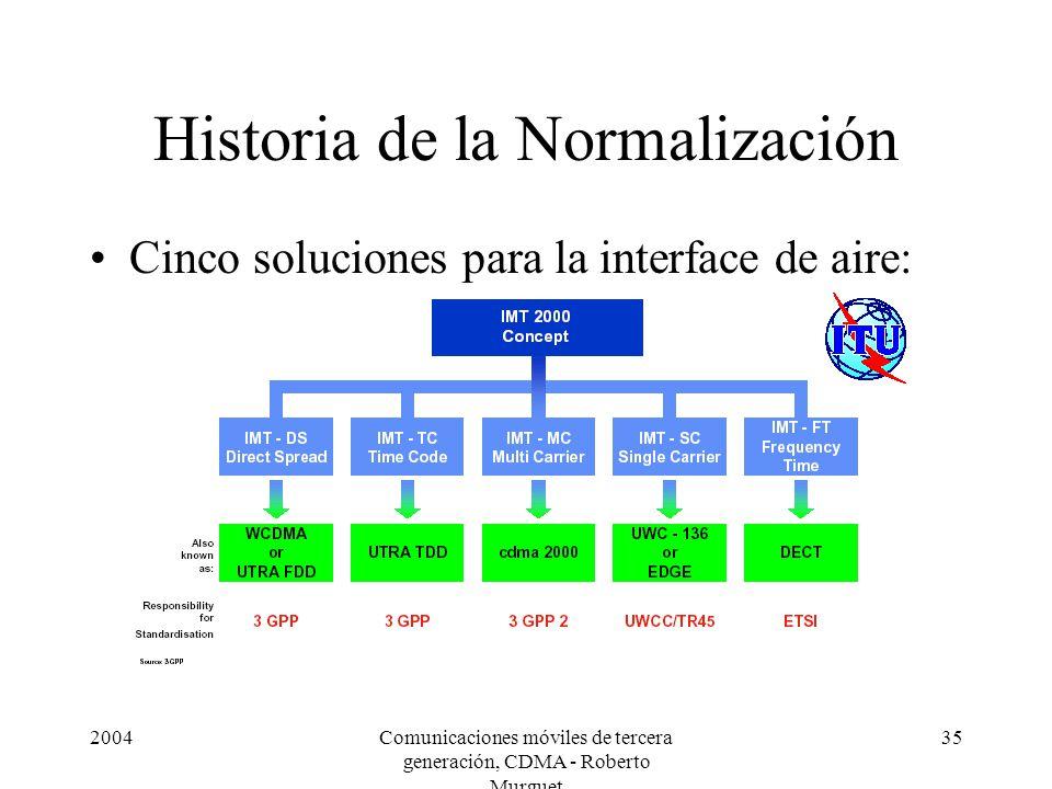2004Comunicaciones móviles de tercera generación, CDMA - Roberto Murguet 35 Historia de la Normalización Cinco soluciones para la interface de aire: