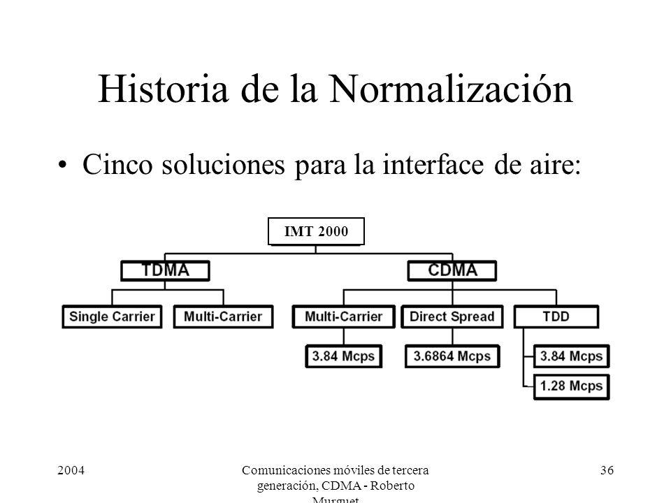 2004Comunicaciones móviles de tercera generación, CDMA - Roberto Murguet 36 Historia de la Normalización Cinco soluciones para la interface de aire: I