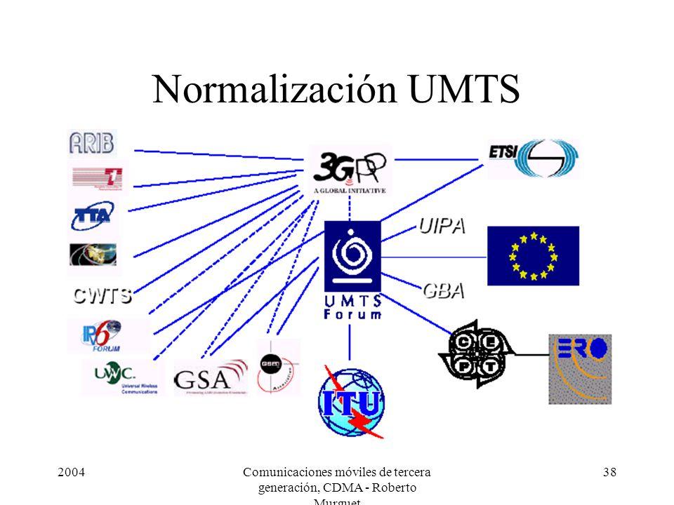 2004Comunicaciones móviles de tercera generación, CDMA - Roberto Murguet 38 Normalización UMTS
