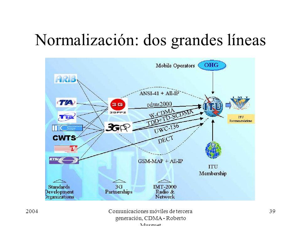 2004Comunicaciones móviles de tercera generación, CDMA - Roberto Murguet 39 Normalización: dos grandes líneas