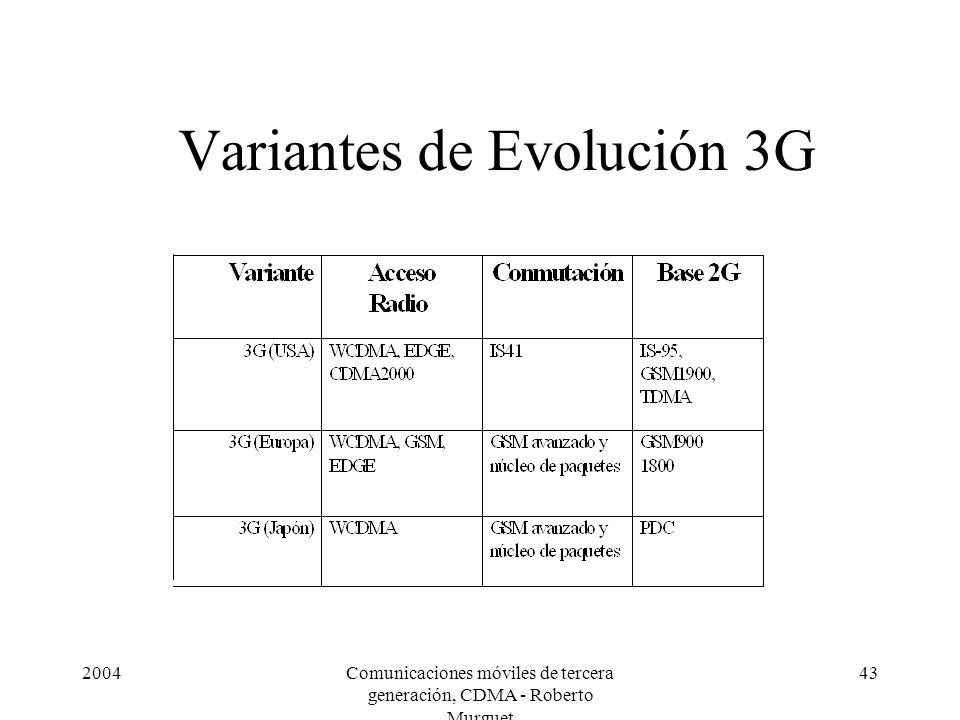 2004Comunicaciones móviles de tercera generación, CDMA - Roberto Murguet 43 Variantes de Evolución 3G