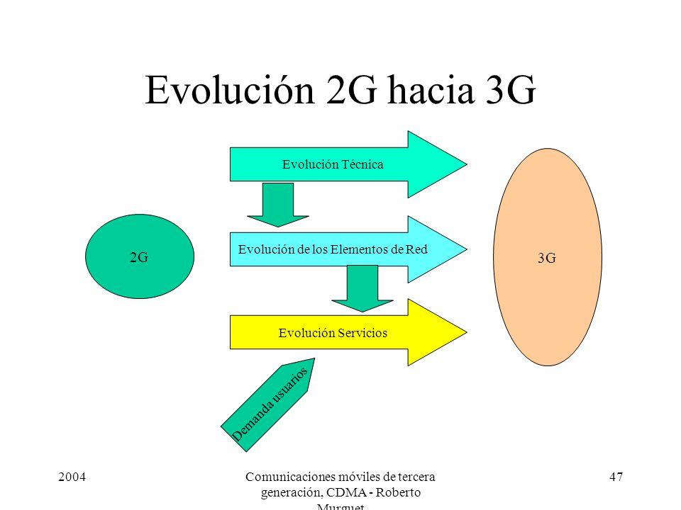 2004Comunicaciones móviles de tercera generación, CDMA - Roberto Murguet 47 Evolución 2G hacia 3G 2G 3G Evolución Técnica Evolución de los Elementos de Red Evolución Servicios Demanda usuarios