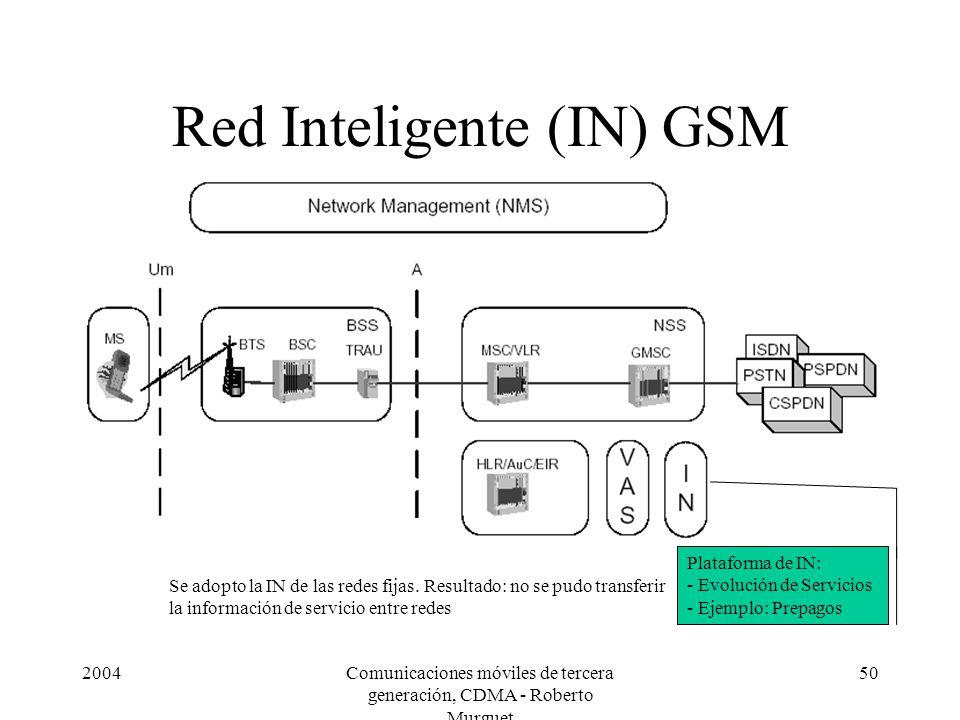 2004Comunicaciones móviles de tercera generación, CDMA - Roberto Murguet 50 Red Inteligente (IN) GSM Plataforma de IN: - Evolución de Servicios - Ejemplo: Prepagos Se adopto la IN de las redes fijas.