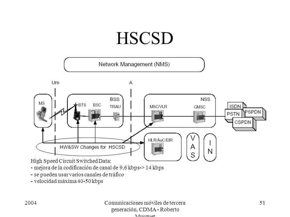 2004Comunicaciones móviles de tercera generación, CDMA - Roberto Murguet 51 HSCSD High Speed Circuit Switched Data: - mejora de la codificación de canal de 9,6 kbps-> 14 kbps - se pueden usar varios canales de tráfico - velocidad máxima 40-50 kbps