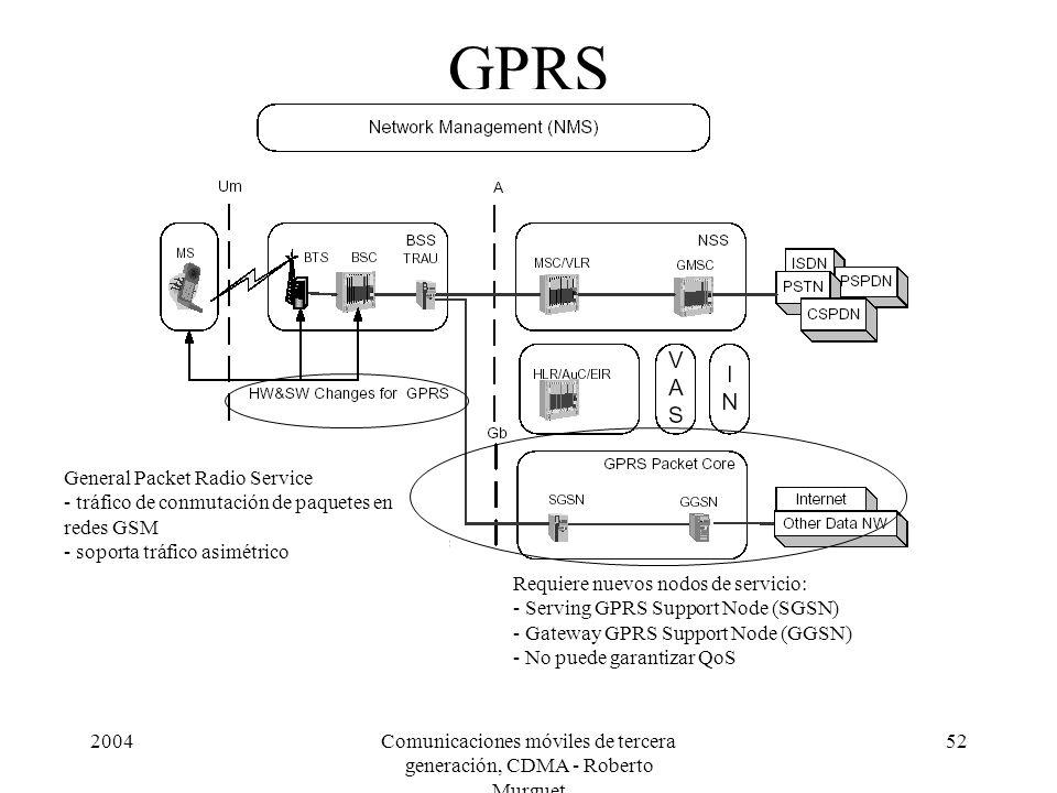 2004Comunicaciones móviles de tercera generación, CDMA - Roberto Murguet 52 GPRS General Packet Radio Service - tráfico de conmutación de paquetes en redes GSM - soporta tráfico asimétrico Requiere nuevos nodos de servicio: - Serving GPRS Support Node (SGSN) - Gateway GPRS Support Node (GGSN) - No puede garantizar QoS