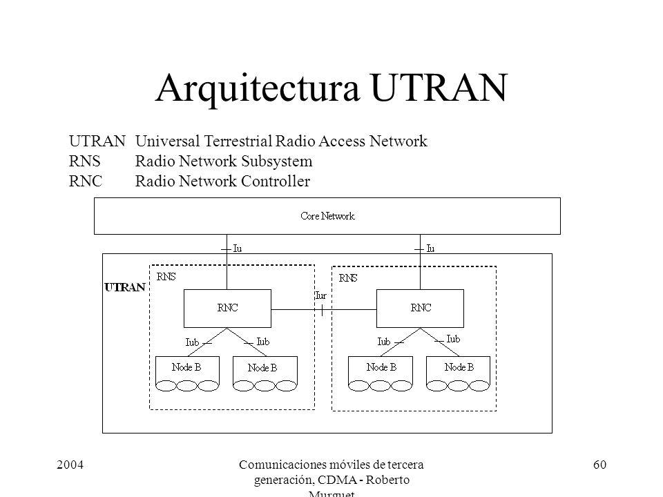 2004Comunicaciones móviles de tercera generación, CDMA - Roberto Murguet 60 Arquitectura UTRAN UTRANUniversal Terrestrial Radio Access Network RNSRadio Network Subsystem RNCRadio Network Controller
