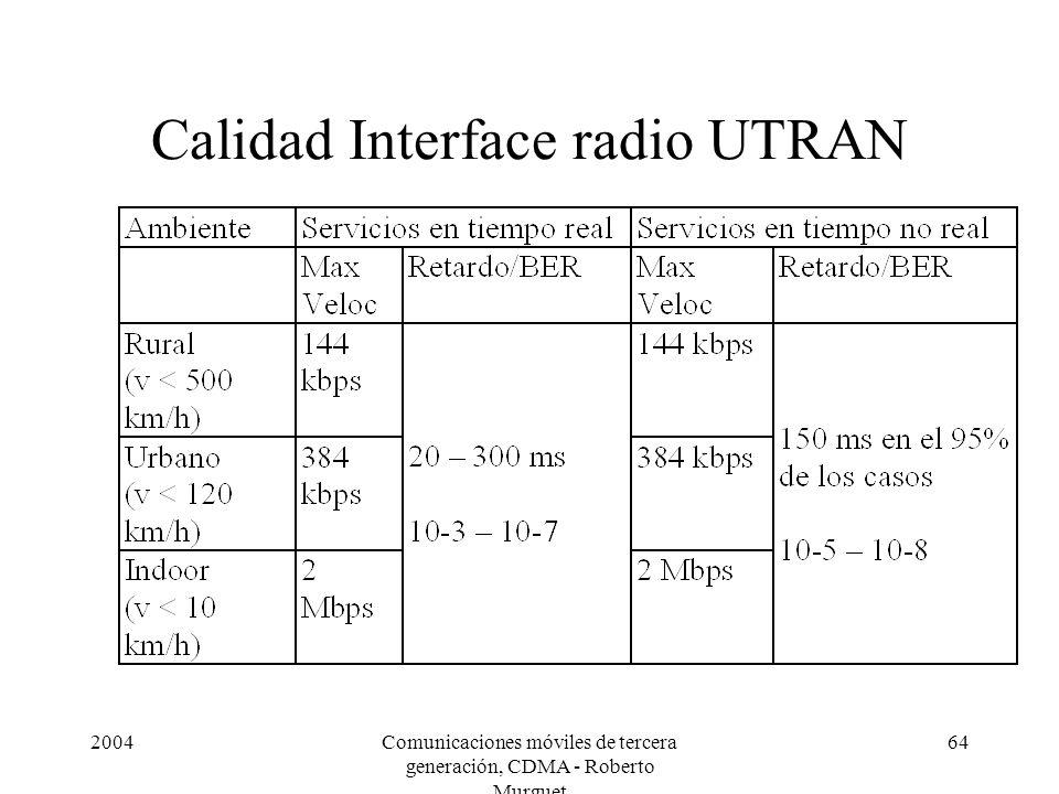 2004Comunicaciones móviles de tercera generación, CDMA - Roberto Murguet 64 Calidad Interface radio UTRAN
