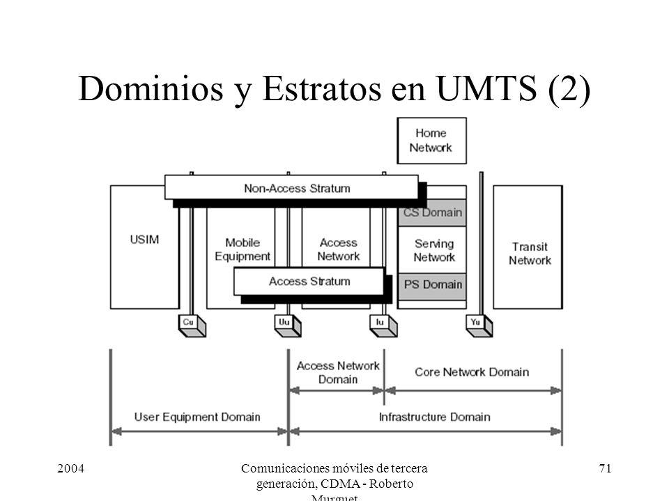 2004Comunicaciones móviles de tercera generación, CDMA - Roberto Murguet 71 Dominios y Estratos en UMTS (2)