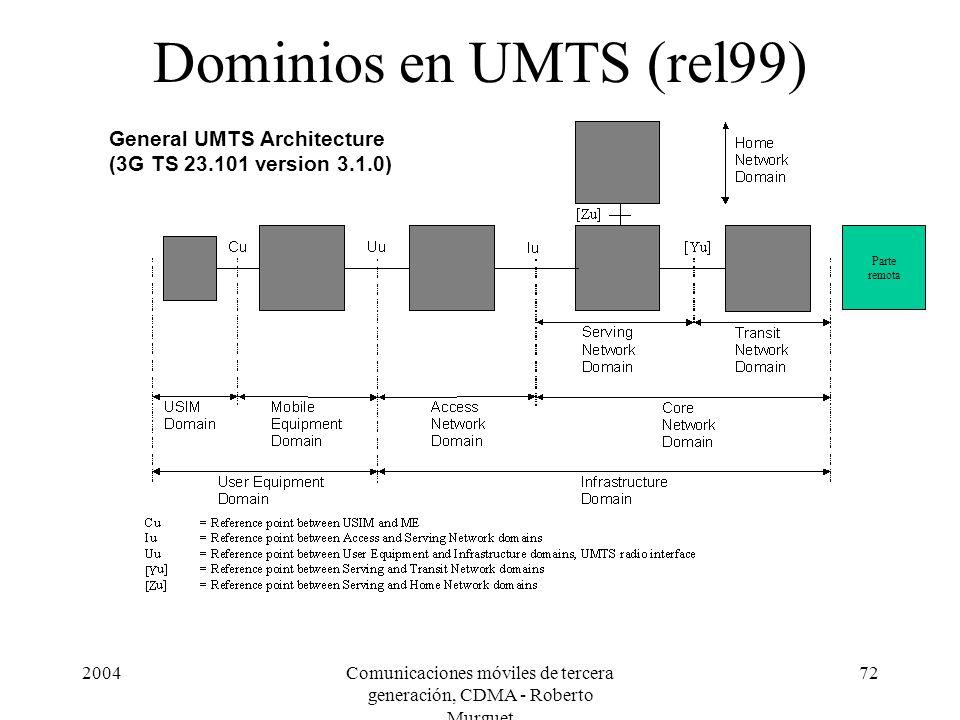 2004Comunicaciones móviles de tercera generación, CDMA - Roberto Murguet 72 Dominios en UMTS (rel99) General UMTS Architecture (3G TS 23.101 version 3.1.0) Parte remota