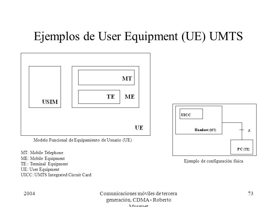 2004Comunicaciones móviles de tercera generación, CDMA - Roberto Murguet 73 Ejemplos de User Equipment (UE) UMTS Modelo Funcional de Equipamiento de U