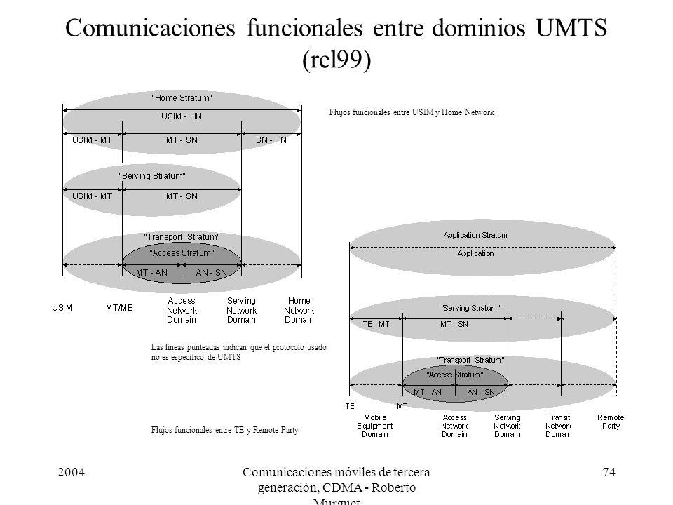 2004Comunicaciones móviles de tercera generación, CDMA - Roberto Murguet 74 Comunicaciones funcionales entre dominios UMTS (rel99) Flujos funcionales entre USIM y Home Network Flujos funcionales entre TE y Remote Party Las líneas punteadas indican que el protocolo usado no es específico de UMTS