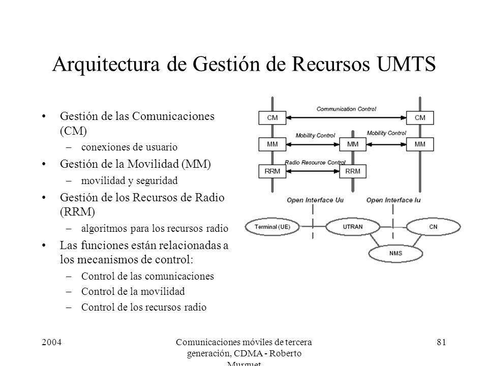 2004Comunicaciones móviles de tercera generación, CDMA - Roberto Murguet 81 Arquitectura de Gestión de Recursos UMTS Gestión de las Comunicaciones (CM) –conexiones de usuario Gestión de la Movilidad (MM) –movilidad y seguridad Gestión de los Recursos de Radio (RRM) –algoritmos para los recursos radio Las funciones están relacionadas a los mecanismos de control: –Control de las comunicaciones –Control de la movilidad –Control de los recursos radio