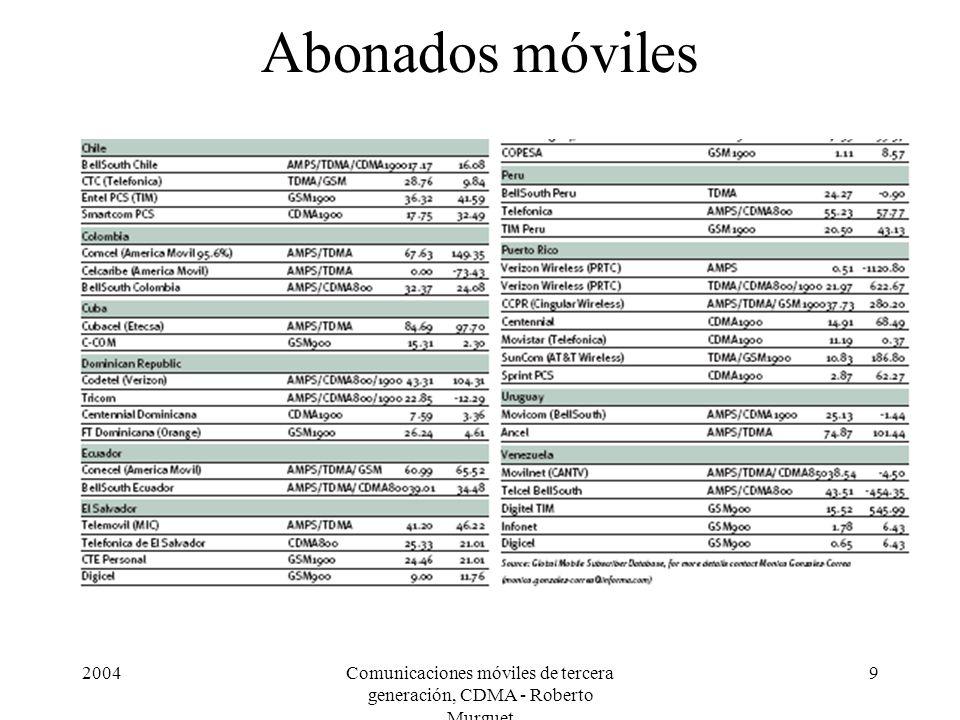 2004Comunicaciones móviles de tercera generación, CDMA - Roberto Murguet 9 Abonados móviles