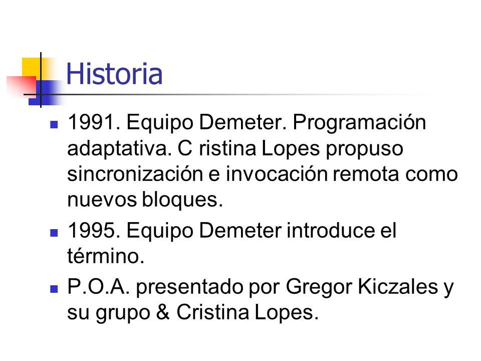 Historia 1991. Equipo Demeter. Programación adaptativa. C ristina Lopes propuso sincronización e invocación remota como nuevos bloques. 1995. Equipo D
