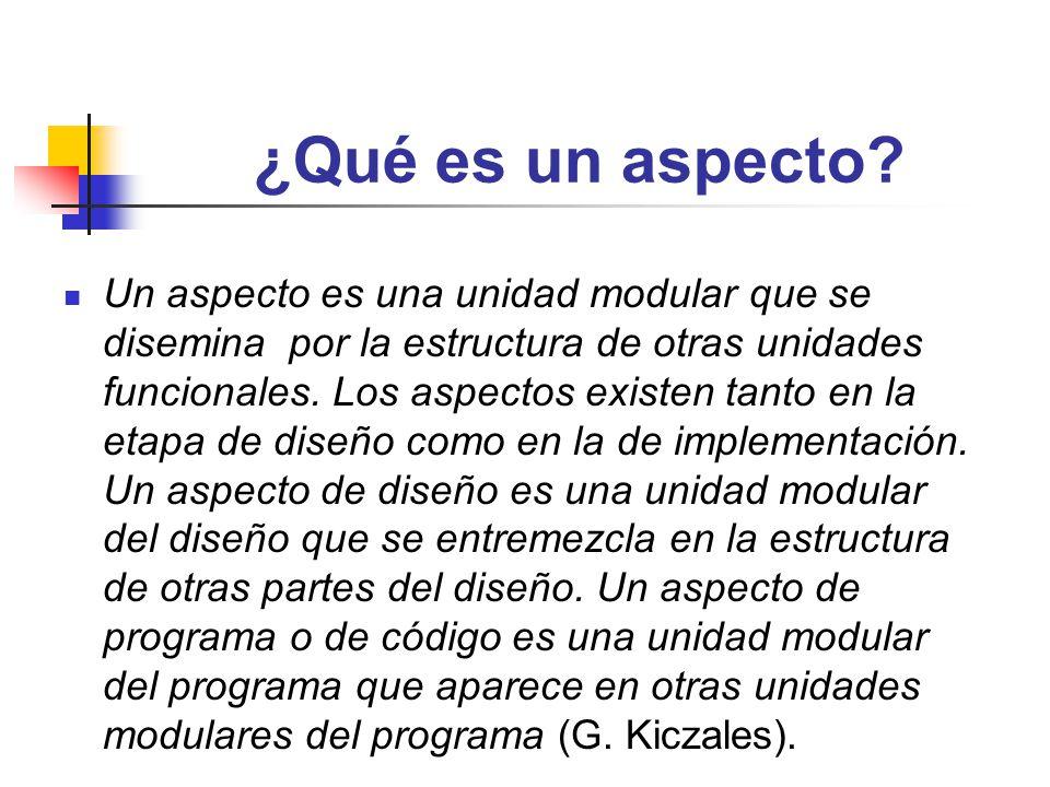¿Qué es un aspecto? Un aspecto es una unidad modular que se disemina por la estructura de otras unidades funcionales. Los aspectos existen tanto en la
