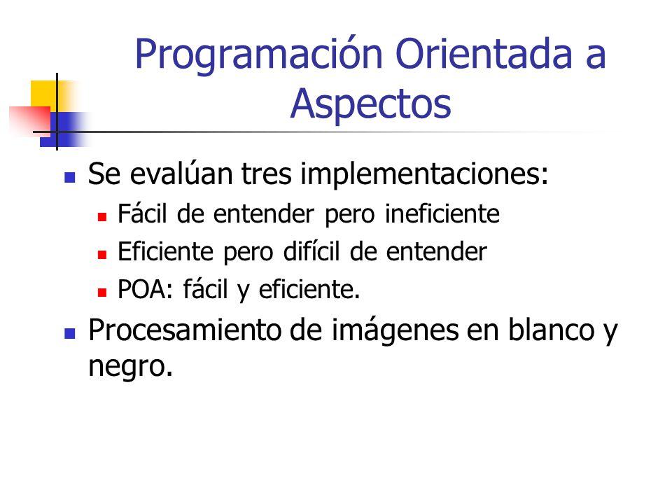 Programación Orientada a Aspectos Se evalúan tres implementaciones: Fácil de entender pero ineficiente Eficiente pero difícil de entender POA: fácil y
