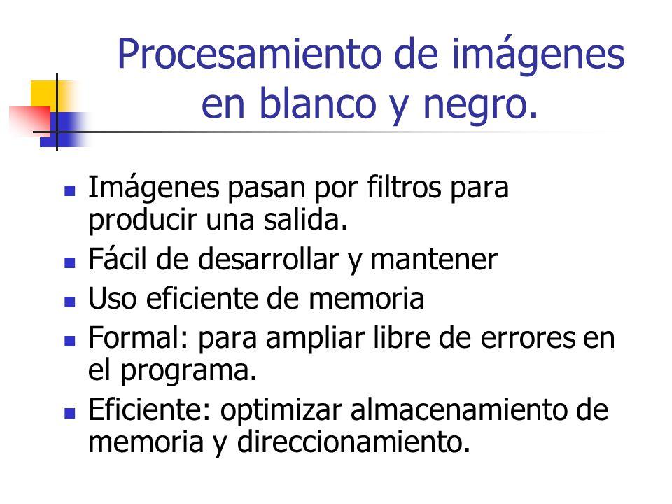 Imágenes pasan por filtros para producir una salida. Fácil de desarrollar y mantener Uso eficiente de memoria Formal: para ampliar libre de errores en