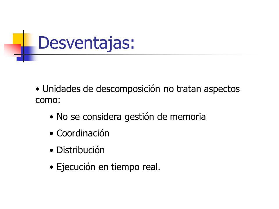 Desventajas: Unidades de descomposición no tratan aspectos como: No se considera gestión de memoria Coordinación Distribución Ejecución en tiempo real