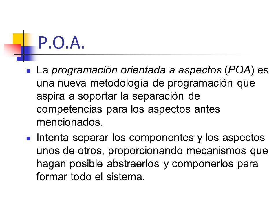 P.O.A. La programación orientada a aspectos (POA) es una nueva metodología de programación que aspira a soportar la separación de competencias para lo