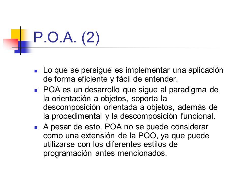 P.O.A. (2) Lo que se persigue es implementar una aplicación de forma eficiente y fácil de entender. POA es un desarrollo que sigue al paradigma de la