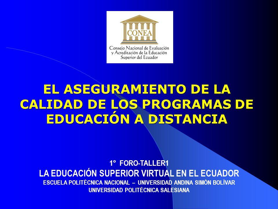 EL CONEA : ORGANISMO ACREDITADOR LA CALIDAD DE LA EDUCACIÓN SUPERIOR ESTRUCTURA DE LOS ASPECTOS A EVALUAR CONEA EL ASEGURAMIENTO DE LA CALIDAD DE LOS PROGRAMAS DE EDUCACIÓN A DISTANCIA EL ASEGURAMIENTO DE LA CALIDAD DE LOS PROGRAMAS DE EDUCACIÓN A DISTANCIA 2 1 3