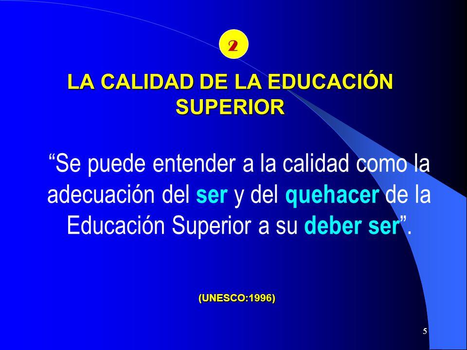 LA CALIDAD DE LA EDUCACIÓN SUPERIOR El CONEA define la calidad como: el conjunto de cualidades de una institución valoradas en un tiempo y situación determinados.